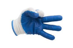 Голубые изолированные перчатки работы Стоковые Фото