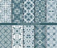 Голубые и белые безшовные картины Стоковая Фотография RF