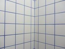 Голубые и белые плитки на стене стоковые изображения