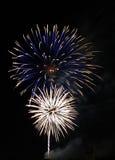 Голубые и белые фейерверки Стоковая Фотография