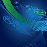 Голубые и зеленые стрелки и предпосылка волн Стоковая Фотография