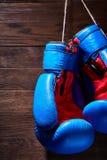 Голубые и красные перчатки бокса вися на деревянной стене Стоковые Фотографии RF