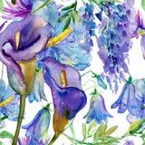 Голубые и фиолетовые цветки Стоковые Фотографии RF
