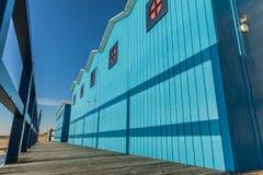 Голубые кабины пляжа Стоковые Фото