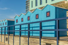 Голубые кабины пляжа Стоковая Фотография RF