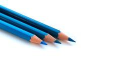 Голубые карандаши на белой предпосылке Стоковые Изображения RF