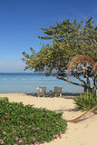 Голубые карибское море и пляж в ямайке Стоковые Фотографии RF
