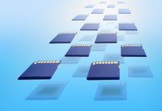 Голубые карты памяти стоковая фотография rf