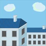 голубые крыши Бесплатная Иллюстрация
