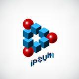 Голубые кубы и красный логотип шарика Стоковые Фотографии RF