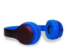 голубые наушники Путь клиппирования Стоковая Фотография RF