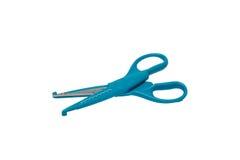 Голубые ножницы на предпосылке изолированной белизной Стоковые Изображения
