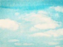 Голубые облако и небо акварели Стоковое Изображение RF