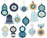 Голубые орнаменты смертной казни через повешение рождества Иллюстрация вектора