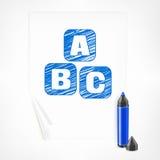 Голубые отметка и письма на бумажном листе Стоковые Изображения