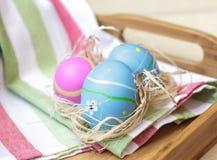Голубые пасхальные яйца закрывают Стоковые Изображения RF