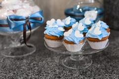 голубые пирожня Булочки с сливк Стоковое Фото