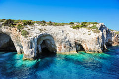 Голубые подземелья на острове Zakynthos, Греции Стоковая Фотография