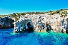 Голубые подземелья на острове Zakynthos, Греции Стоковое Изображение RF