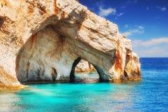 Голубые подземелья, остров Zakynthos Стоковая Фотография
