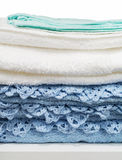 голубые полотенца белые Стоковая Фотография RF