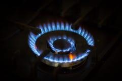Голубые пламена природного газа Стоковое Изображение