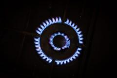 Голубые пламена природного газа Стоковая Фотография
