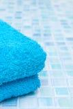 Голубые плитки в ванной комнате Стоковая Фотография RF