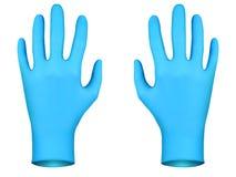 Голубые резиновые перчатки Стоковая Фотография
