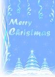 голубые снежинки рождества карточки Стоковое Фото