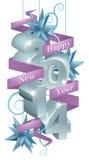 Голубые счастливые орнаменты Нового Года 2014 Стоковое фото RF