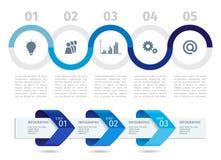Голубые технологическая карта операций и стрелки Infographic с шагом вверх по вариантам лавр граници покидает вектор шаблона тесе Стоковые Фото