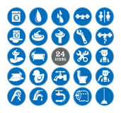 Голубые установленные значки ванной комнаты Стоковые Изображения