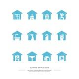 голубые установленные иконы уборка Стоковые Фото