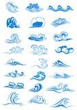 Голубые установленные океанские волны Стоковое Изображение