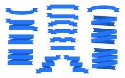 голубые установленные тесемки Знамена вектора Стоковые Фотографии RF