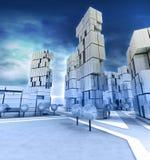 Голубые улицы города wintertime с облачным небом Стоковое Фото