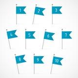 Голубые флаги с номерами Стоковое фото RF