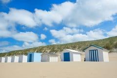 Голубые хаты пляжа на Texel Стоковые Изображения