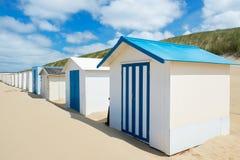 Голубые хаты пляжа на Texel Стоковая Фотография