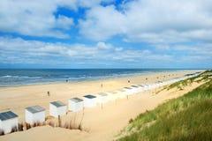 Голубые хаты пляжа на Texel Стоковые Изображения RF