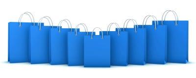 Голубые хозяйственные сумки иллюстрация штока