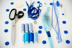 Голубые шить материалы Стоковое фото RF