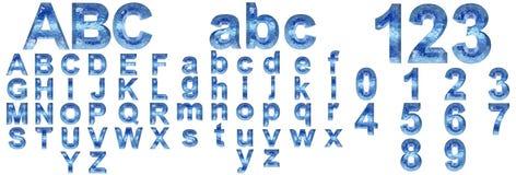 Голубые isoalted шрифты льда или воды Стоковые Изображения