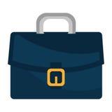 Голубым кожаным значок изолированный портфелем плоский Стоковое Изображение