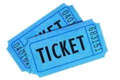 2 голубых билета изолированного на белой предпосылке Стоковые Фотографии RF