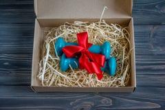 2 голубых гантели в присутствующей коробке Стоковое фото RF