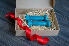 2 голубых гантели в присутствующей коробке Стоковое Изображение