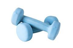2 голубых гантели изолированной на белой предпосылке Стоковое Фото