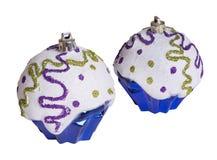 2 голубых изолированного украшения рождества на белизне Стоковая Фотография RF